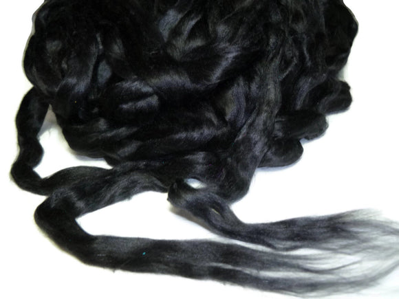 1 oz Mulberry Silk roving AA,  color: Black