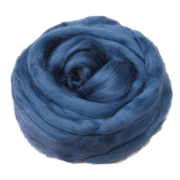 1 oz (28g) Mulberry Silk roving AA,  color: Denim Blue