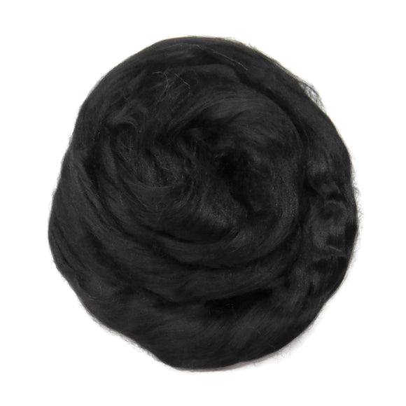 1 oz (28g) Mulberry Silk roving AA,  color: Black