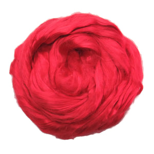 1 oz (28g) Mulberry Silk roving Grade AA,  color: Tomato red