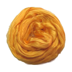 1 oz (28g) Mulberry Silk roving Grade AA,  color: Indian Yellow