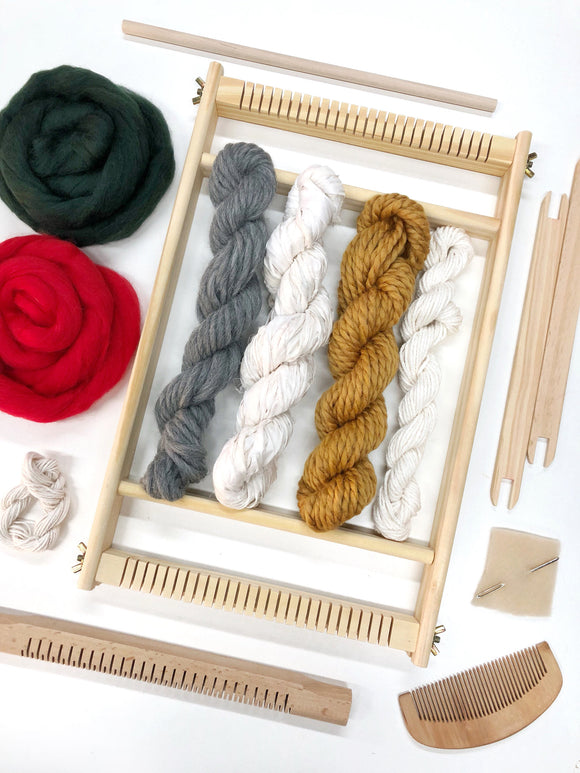 Weaving kit for beginners with 30 page E-book / weaving loom with yarn and accessories / weaving starter's kit / learn to weave