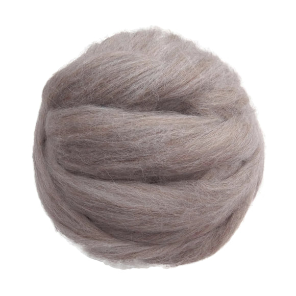 Baby Alpaca Wool Roving, Sand/Gray