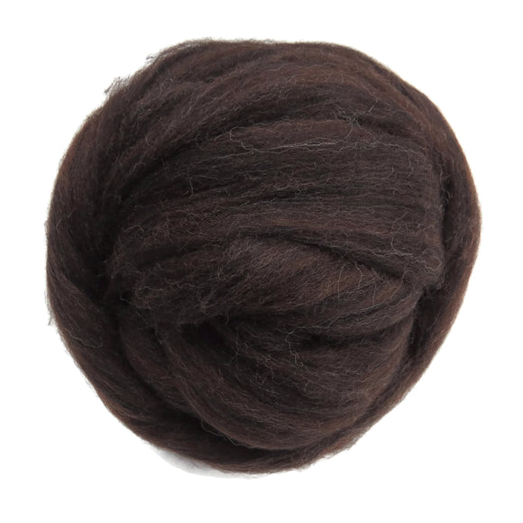 Natural Corriedale  Wool Roving, Chocolat Brown