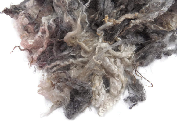 2oz, Yearling Mohair wool locks , colour Black / Silver / white (DC-8)