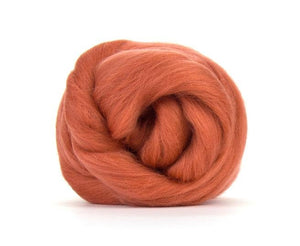 SALE! Superfine Merino 66s Wool Roving , Color: Terracotta 2