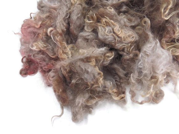 2oz, Yearling Mohair wool locks , colour Resdish Brown  (DC-3)