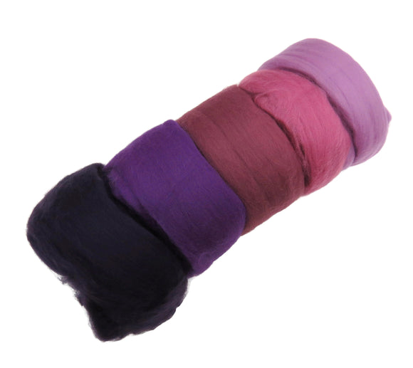 Felters Palette Merino Wool Roving Kit - 5 Colors Superfine Wool Fibers Assortment , color: Purple / Pink