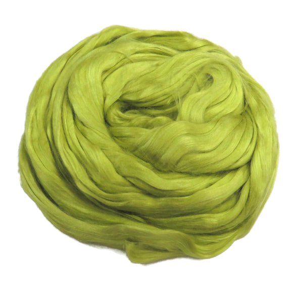 1 oz (28g) Mulberry Silk roving AA,  color: Chartreuse citron