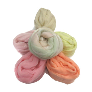 Felters Palette Merino Wool Roving Kit - 5 Colors Superfine Wool Fibers Assortment , (blended roving optional) color: Pastels