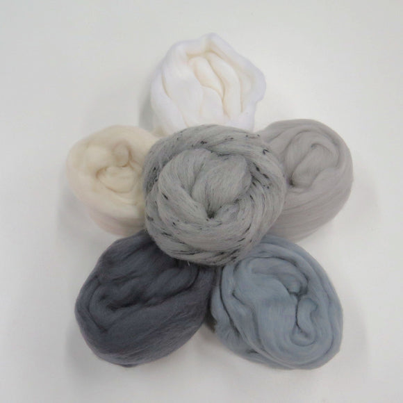 Felters Palette Merino Wool Roving Kit - 5 Colors Superfine Wool Fibers Assortment , (blended roving optional) color: Neutral Grays