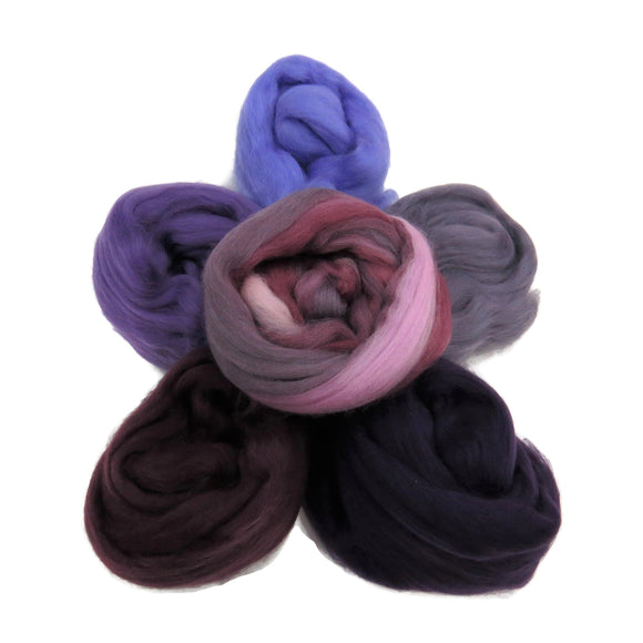 Felters Palette Merino Wool Roving Kit - 5 Colors Superfine Wool Fibers Assortment ,(blended roving optional) color: Purples