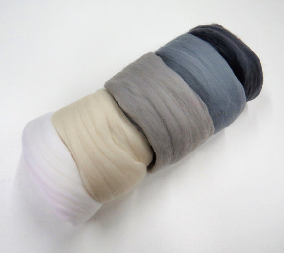 Felters Palette Merino Wool Roving Kit - 5 Colors Superfine Wool Fibers Assortment , color: gray / whites