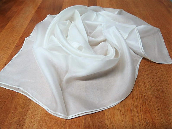 Hand rolled hemmed silk chiffon scarf for nuno felting color:  pure white