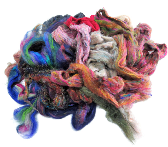 Pulled Mulberry and Tussah Mix butter Silk Roving Palette Kit, 1oz (28g)