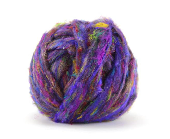 Pulled Sari Silk Roving, color: Multi Mix (PS-26) color Jumble