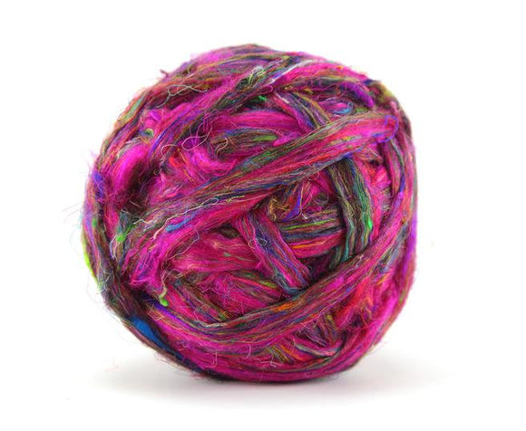 Pulled Sari Silk Roving, color: Multi Mix (PS-27) color Fireworks