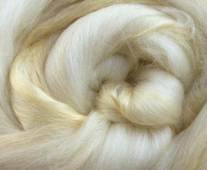 Merino / Soybean Roving color: ( Natural White / Soyabean )- Neutral Color Superfine merino Wool Silk Blend Fiber for Spinning & Felting