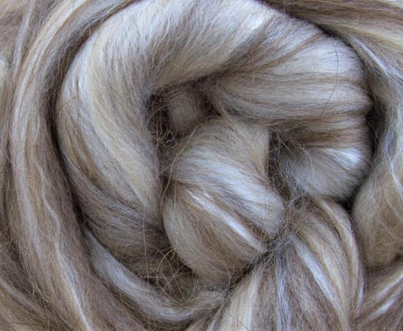Superfine Merino / Brown Alpaca / Camel / Mulberry Silk Top)- Neutral Color Superfine merino Wool Silk Blend Fiber for Spinning & Felting