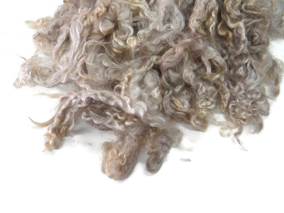 2oz, Kid Mohair wool locks ,Hand-picked colour Champagne  NB-10