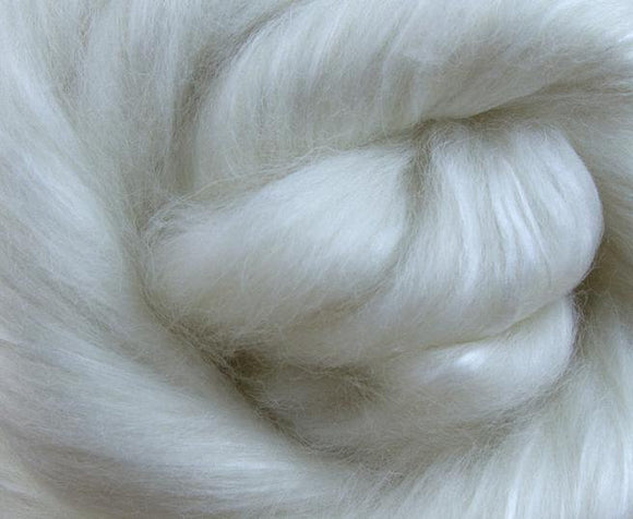 White Cashmere / A Grade Mulberry Silk roving  Natural Undyed  , color: Natural White