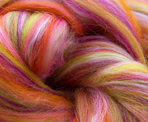 New! Blended  merino / tussah silk wool roving 2oz or 4 oz, color: Libra