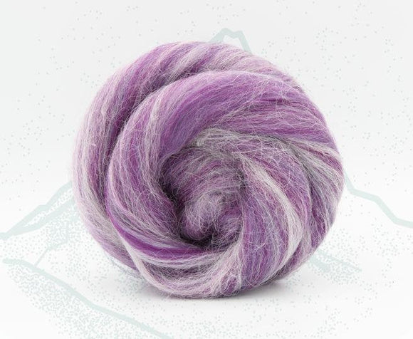 New! Blended Merino Alpaca Superfine merino wool roving mix 2oz or 4 oz, color: Monte Viso Purple