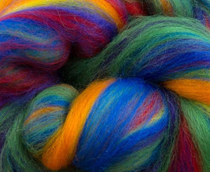 New! Merino blended wool roving , 4 oz , Northern Lights Collection , color Rainbow