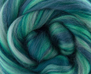 New! Merino blended wool roving , 4 oz , Northern Lights Collection , color Harmony