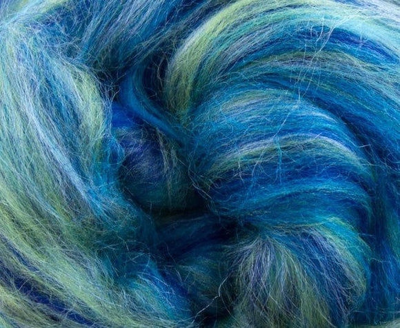 New! Blended  merino / tussah silk wool roving , 2oz or 4oz, color: Aquarius