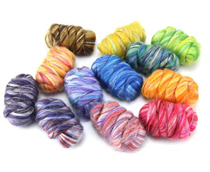 New! Blended  Merino / Tussah Silk  wool roving assortment kit,  12 colors included : 250g ( 9oz ) total.