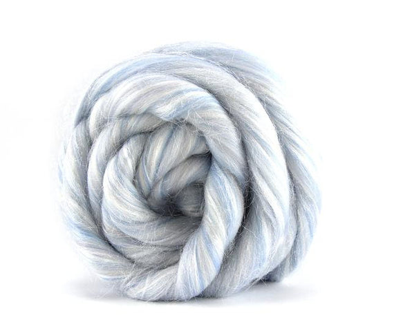 New! Blended Glitter Superfine merino / nylon blend wool roving 2-4 oz, color: Snowglobe