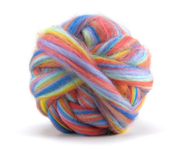 New! Blended Corriedale wool roving mix, 2-4 oz, color: Tropical
