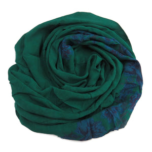 Silk chiffon fabric scarf for nuno felting color: color Green / Blue Print   (CS-63)
