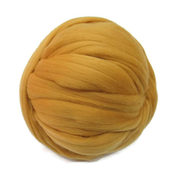 NEW! Superfine Merino wool roving 19 microns , Color: Honey