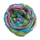 Mulberry Silk varigated roving, hand dyed in light tones of pastels.  Color: Pastel Array