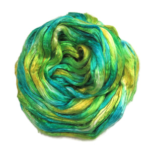 Mulberry Silk varigated roving, hand dyed in tones of the lemon yellow and turquoise blue.  Color: Antiqua