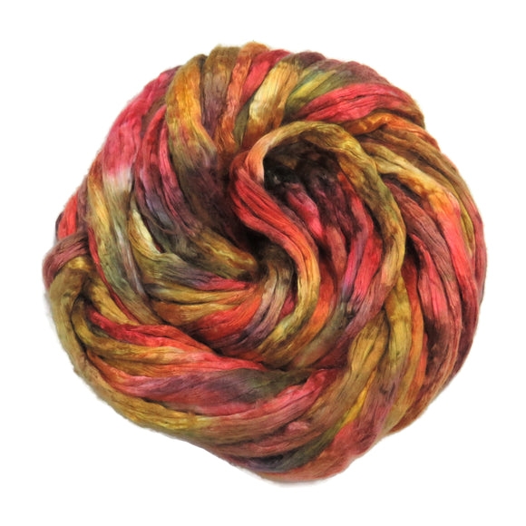 Mulberry Silk varigated roving, hand dyed in light tones of Golden Oranges.  Color: Autumn Harvest