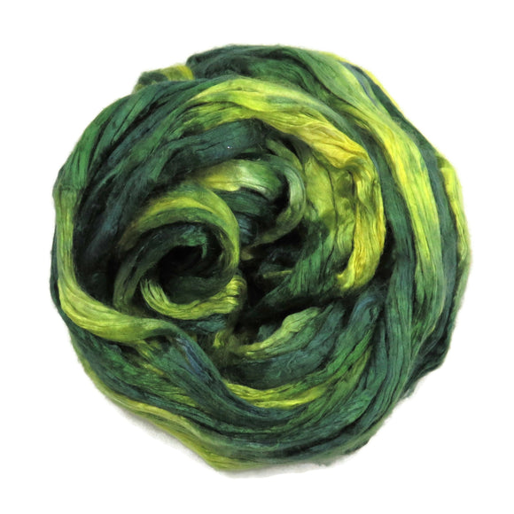 Mulberry Silk varigated roving, hand dyed in tones of Lime and Forest Green.  Color: Encanted Forest