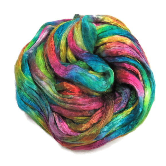 Mulberry Silk varigated roving, hand dyed in vibrant cold tones.  Color: Rainbow