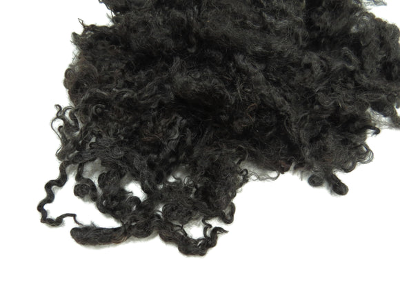 1oz, Exquisite Spring Kid Mohair wool locks , color : Natural Black undyed,  LS-6