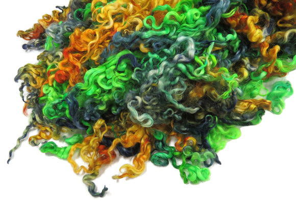 1 oz  Leicester long wool locks , hand-dyed  color: Green /Orange / Blue , ADF-22