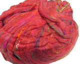 Pulled Sari Silk Roving, color: Multi Mix (PS-35) Red Mix