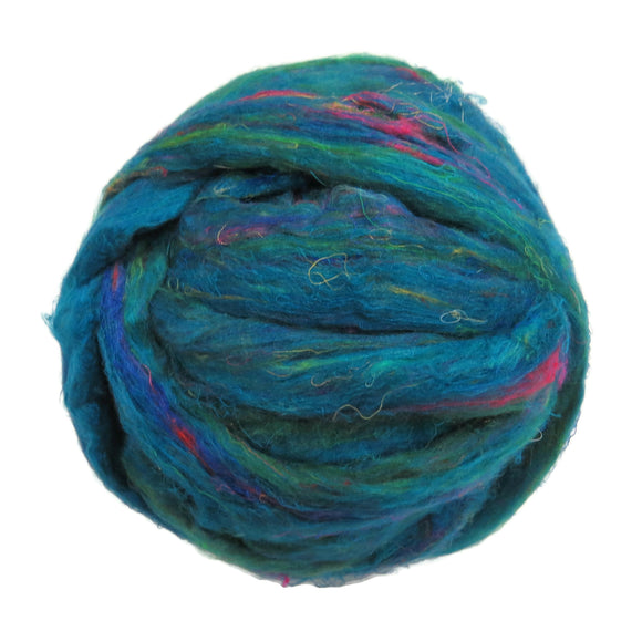 Pulled Sari Silk Roving, color: Multi Mix (PS-31) Turquoise