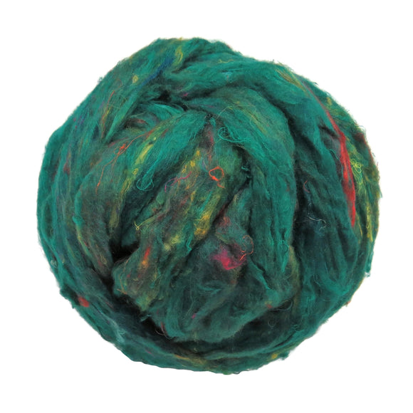 Pulled Sari Silk Roving, color: Multi Mix (PS-30) Jade