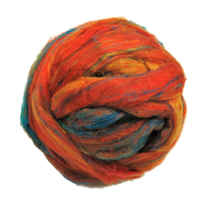 Pulled Sari Silk Roving, color: Multi Mix (PS-36) Orange /Turquoise