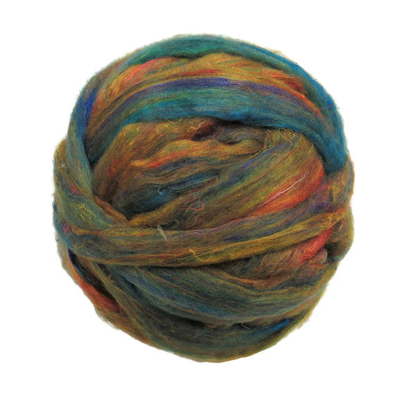 Pulled Sari Silk Roving, color: Multi Mix (PS-37) Mustard /Turquoise