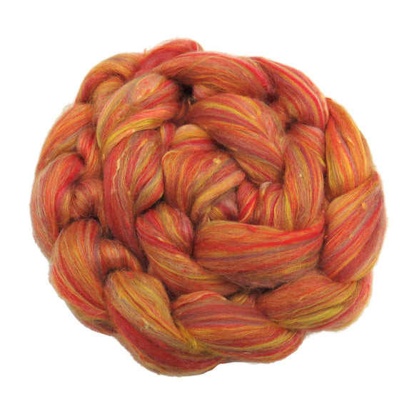 New! Blended  Merino / Bamboo / Viscose wool roving,  2oz or 4oz, color: Fire Ball