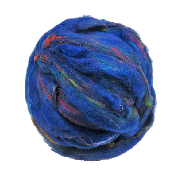 Pulled Sari Silk Roving, color: Multi Mix (PS-32) Peacock Blue