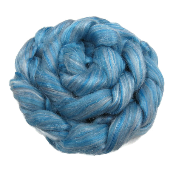 Blended Mulberry Silk, Milk Fibre, Merino and Nylon wool roving , color: White Walker